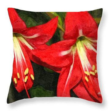Amaryllis Lily Throw Pillow