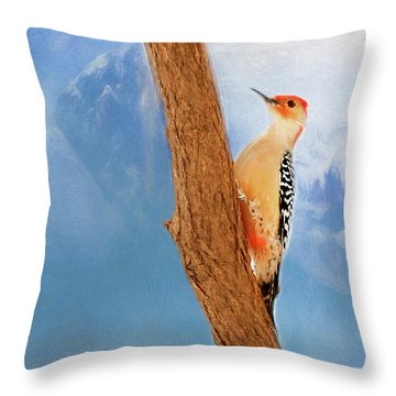 Throw Pillow featuring the digital art Red Bellied Woodpecker by Darren Fisher
