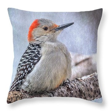 Red-bellied Woodpecker Throw Pillow by Patti Deters