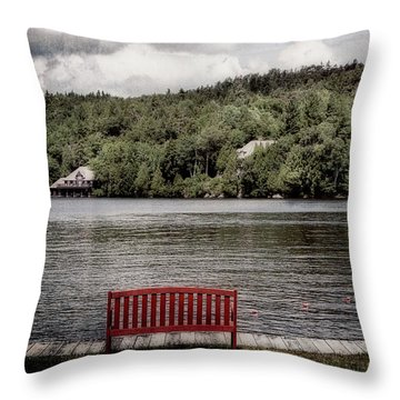 Red Bench Throw Pillow