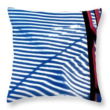 Red Bench Throw Pillow by Steven Huszar