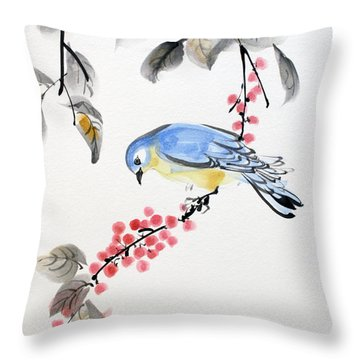 Red Berries Blue Bird Throw Pillow