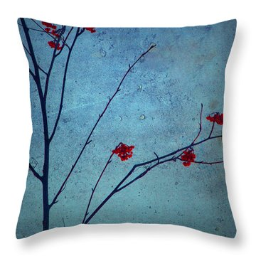 Red Berries Blue Sky Throw Pillow