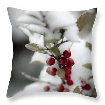 Red Berries Throw Pillow by Jill Smith