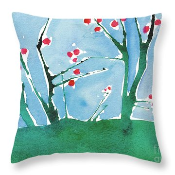 Red Berry Flowers Throw Pillow