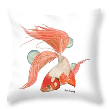Throw Pillow featuring the painting Red Beta Fish by Anne Beverley-Stamps