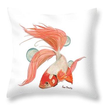 Red Beta Fish Throw Pillow
