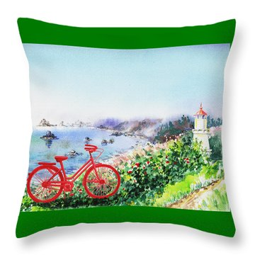 Red Bicycle At The Shore Throw Pillow