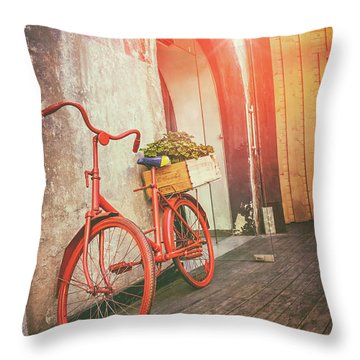 Red Bicycle In Riga Latvia  Throw Pillow