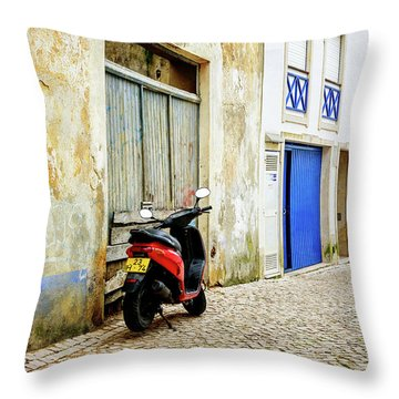 Red Bike Throw Pillow by Marion McCristall