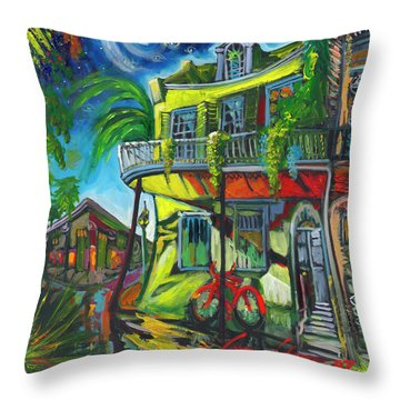 Red Bike On Royal Throw Pillow