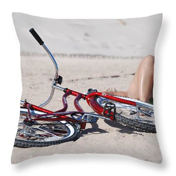 Red Bike On The Beach Throw Pillow by Rob Hans