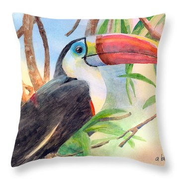 Red-billed Toucan Throw Pillow by Arline Wagner