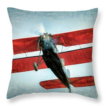 Throw Pillow featuring the photograph Red Biplane by James Barber