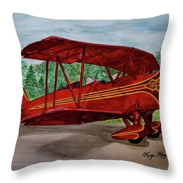 Red Biplane Throw Pillow