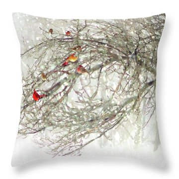 Throw Pillow featuring the digital art Red Bird Convention by Sue Collura