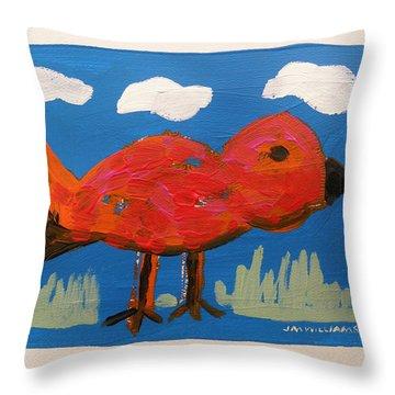 Red Bird In Grass Throw Pillow