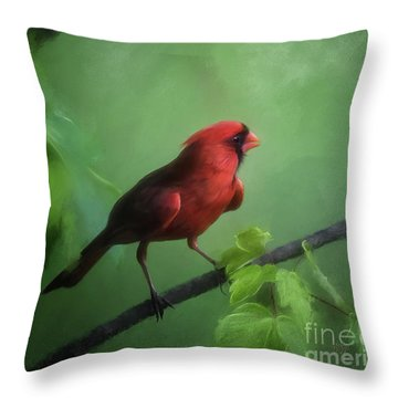 Red Bird On A Hot Day Throw Pillow by Lois Bryan