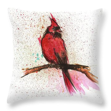 Red Bird Throw Pillow by Remy Francis