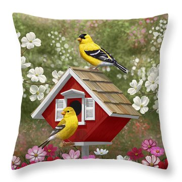 Red Birdhouse And Goldfinches Throw Pillow