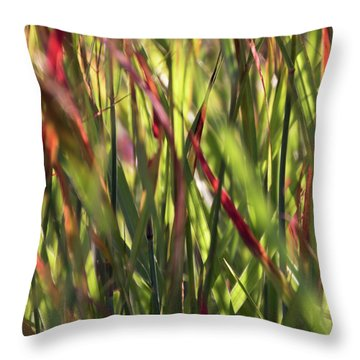 Red Blades Among The Green Throw Pillow