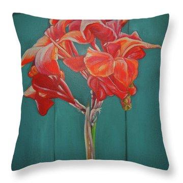 Red Bloom Throw Pillow by John Keaton