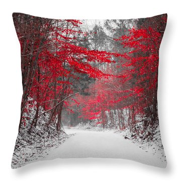 Red Blossoms Horizontal Throw Pillow