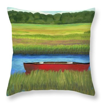 Red Boat - Assateague Channel Throw Pillow by Arlene Crafton