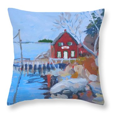 Red Boat House Throw Pillow by Francine Frank