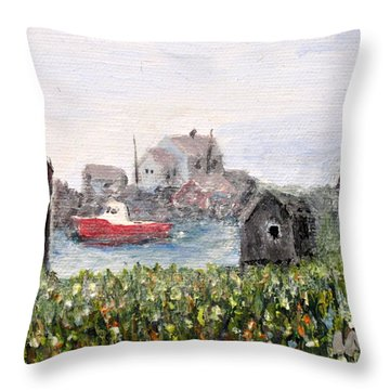Red Boat In Peggys Cove Nova Scotia  Throw Pillow