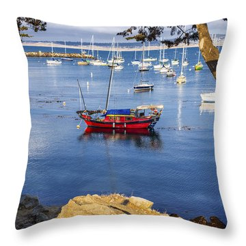 Red Boat In Monterey Throw Pillow
