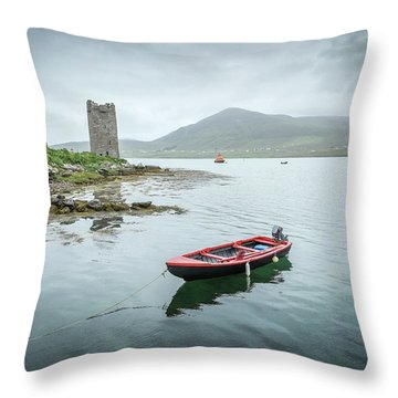 Red Boat Throw Pillow by Marty Garland