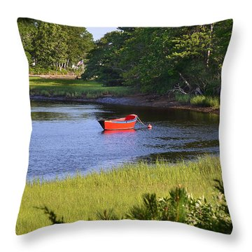 Red Boat On The Herring River Throw Pillow
