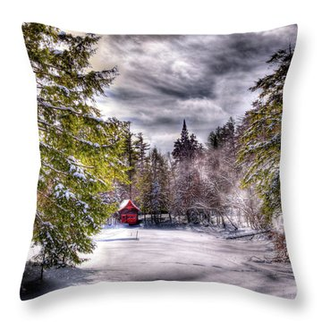 Throw Pillow featuring the photograph Red Boathouse After The Storm by David Patterson