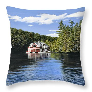 Red Boathouse Throw Pillow