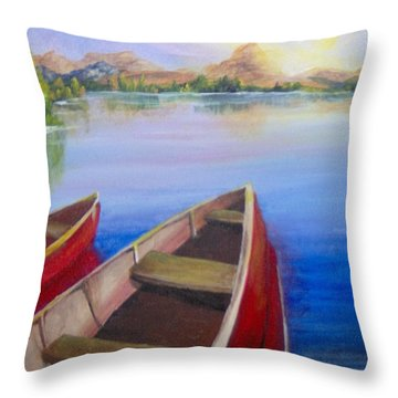 Throw Pillow featuring the painting Red Boats At Sunrise by Saundra Johnson