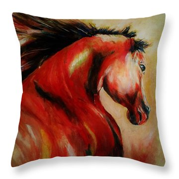 Red Breed Throw Pillow by Khalid Saeed
