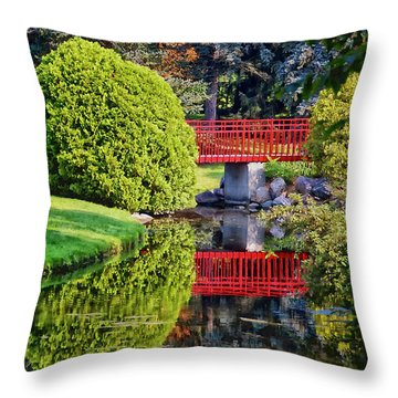 Red Bridge At Dow Gardens Throw Pillow