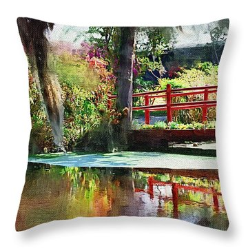 Red Bridge Throw Pillow