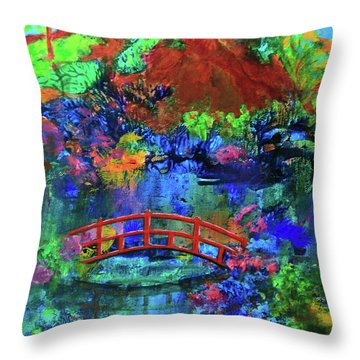 Red Bridge Dreamscape Throw Pillow