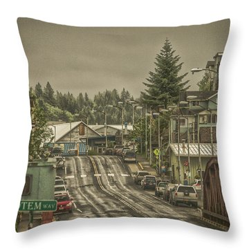 Throw Pillow featuring the photograph Red Bridge Haze by Timothy Latta