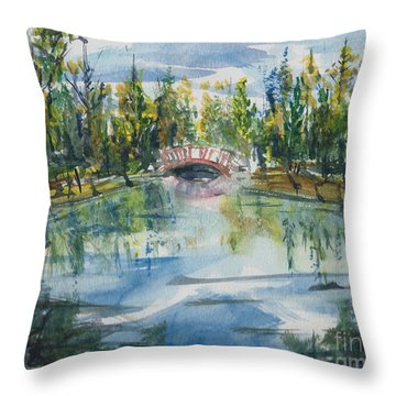 Throw Pillow featuring the painting Red Bridge On Lake In The Ozarks by Reed Novotny