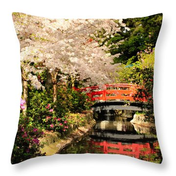 Red Bridge Reflection Throw Pillow by James Eddy