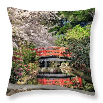 Throw Pillow featuring the photograph Red Bridge Spring Reflection by James Eddy