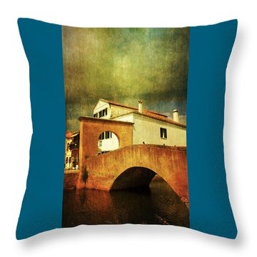 Throw Pillow featuring the photograph Red Bridge With Storm Cloud by Anne Kotan