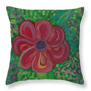 Throw Pillow featuring the painting Red Brilliance by John Keaton