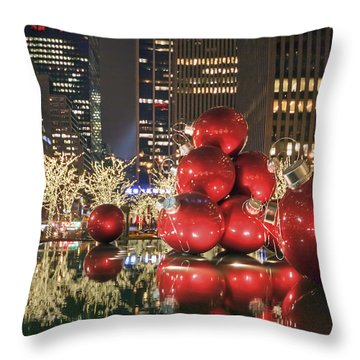 Red Bubbles Throw Pillow by Evelina Kremsdorf