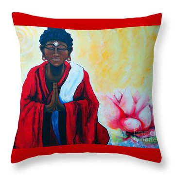 Red Buddha Lotus Throw Pillow by Jackie Carpenter