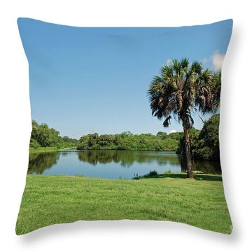 Throw Pillow featuring the photograph Red Bug Slough by Gary Wonning
