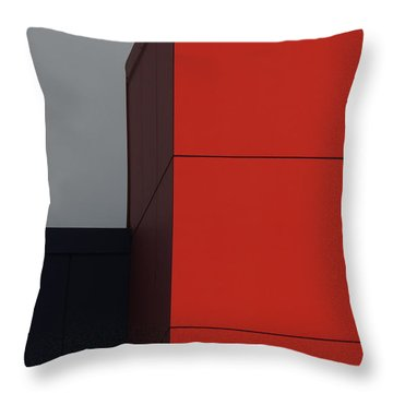 Red Building Abstract 1 Throw Pillow